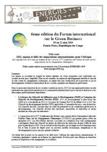 2015-05-18 - Forum International Green business_Congo_Atelier ENERGIES 2050