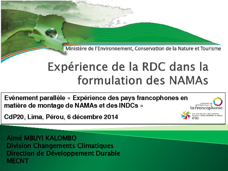 thumbnail of 2014-12-06-Side-event-NAMA-IFDD_Presentation-5_Aime-MBUYI-KALOMBO_NAMAs-en-RDC