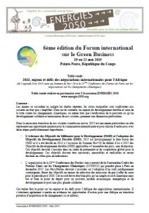 2015-05-18 - Forum International Green business_Congo_Atelier ENERGIES 2050